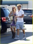 """Glee"" actress has breakfast with her boyfriend Alex Pettyfer at the Beverliz Cafe in Beverly Hils."