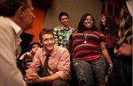 Cast members on set. From left, Chris Colfer, Matthew Morrison, Harry Shum Jr., Amber Riley and Jenna Ushkowitz.